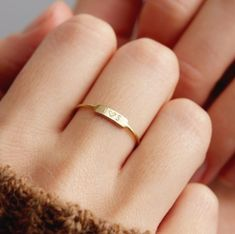 Personalized Disc Circle Tag Joint Mid Thin Wire Ring 14k Yellow Gold Band 12 mm