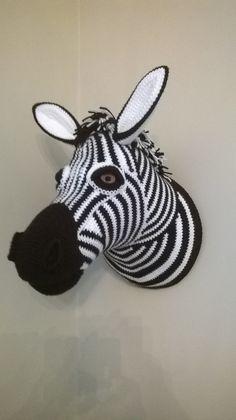 Zebra - Crochet taxidermy - pattern from 'animal heads trophy heads to crochet' by Vanessa Mooncie