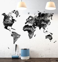 Black and white world map paint frame gold and write john 1633 in spice up your walls with this high quality removable wall decal we make this to gumiabroncs Gallery
