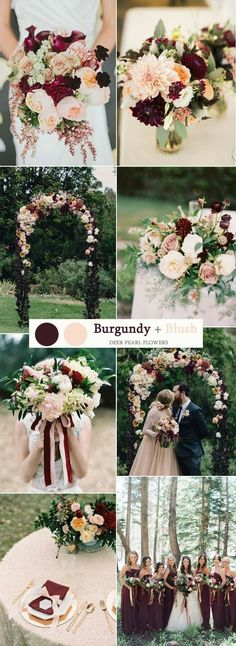 Burgundy wedding flowers, burgundy bridal bouquet ideas, gorgeous blush and burgundy wedding decor trends for 2018 and 2019. SAVE to your wedding planning and inspiration board>>