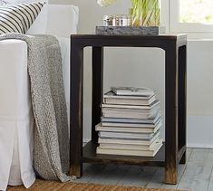 Weathered black side table- if you did go with a weathered black bedframe...did you want open like this or do you prefer a drawer?Helena Side Table #potterybarn