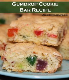 Gumdrop Cookie Bar Recipe; These fun holiday cookies are full of chewy gumdrops. Easy to make, these Gumdrop Cookie Bars are great for children and adults alike.  http://www.annsentitledlife.com/recipes/gumdrop-cookie-bar-recipe/