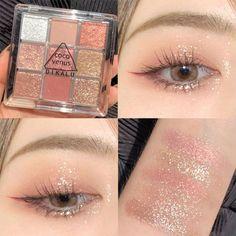 Matte Makeup, Glitter Eye Makeup, Shimmer Eyeshadow, Skin Makeup, Eyeshadow Makeup Tutorial, Asian Eyeshadow, Simple Eyeshadow, Liquid Eyeshadow, Peach Makeup