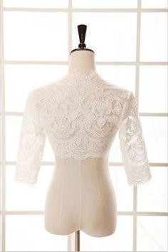 Wedding Dress Lace Jacket Bolero Elbow Sleeves Open Cut by avivaly, $49.00 over a strapless sweetheart dress