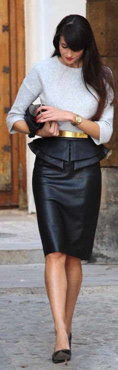 #Peplum #Pencil #Skirt by Angeles y Diablillos => Click to see what she wears