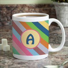 Colorful Stripes Personalized (Brown) Mug (Initial A)