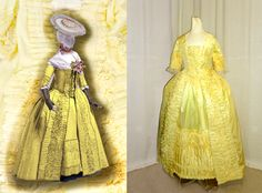 A colorized version of a dress in the Kyoto collection (original-blue and white linen toile); and the realization of the design - with differently shaped panniers - in yellow silk taffeta.
