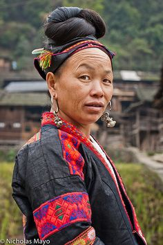 Elegantly Coiffeured . Miao village of Ba Shu China