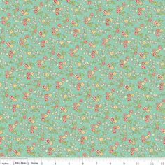 Aqua Red and Yellow Vintage Floral Fabric, Seaside by October Afternoon for Riley Blake, Chair Print in Blue, 1 Yard. $6.95, via Etsy.