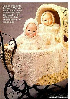 Baby doll Knitting PATTERN - 2 Full layettes Jacket, Leggings, vest, bonnet, Bootees, Shawl, Dress