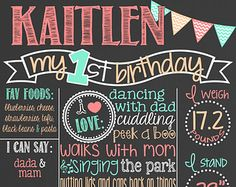 Pink and Gold First Birthday Chalkboard от PersonalizedChalk