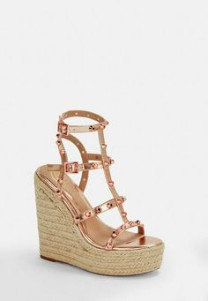 rose gold double strap wedges with gold dome stud detail. Approx Heel Height: Upper: Other Materials Lining: Other Materials Sole: Other Materials Rose Gold Wedges, Rose Gold Shoes, Black Wedges, Bronze Shoes, Taupe Shoes, Ongles Or Rose, Cheap Shoes, Missguided, Bracelets