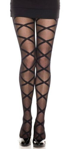 Criss Cross Pantyhose Tights Nylon Stockings