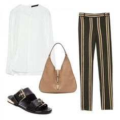 Wear To: The Office Parla Sandal, Rachel Zoe $255 Termin Pant in Latter Stripe, Theory $355 Folded Neckline Blouse, Zara $60 Jackie Soft Leather Hobo, Gucci $2990