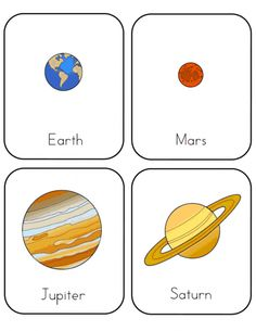 Mrs Home Ec: Preschool Lesson: Space - printable planet cards for the planets of our solar system Space Preschool, Space Activities, Preschool Themes, Preschool Science, Preschool Lessons, Preschool Learning, Science For Kids, Science Activities, In Kindergarten