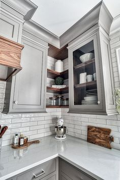Kitchen corner shelves Kitchen features corner shelves in Natural Walnut Most Popular Kitchen Design Ideas on 2018 & How to Remodeling Corner Shelves Kitchen, New Kitchen Cabinets, Kitchen Redo, Corner Shelf, Corner Shelving, Corner Cabinets, Kitchen Countertops, Open Cabinet Kitchen, Ikea Kitchen