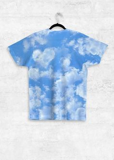 Unisex Tee - Full Print ARTWORK: Blue Sky Heart DESIGNED BY: Natural & Eco-friendly Style meets comfort in our super soft, sublimation print Unisex Tee. Featuring all-over print on the front and back, our tee is easily dressed up with a leather jacket for a night out or worn alone for a relaxed everyday look. Matte finish, light fabric, 100% Recycled Polyester Tank Top Shirt, Tank Tops, Eco Friendly Fashion, Cute Tshirts, Cute Crochet, Everyday Look, Cute Tops, Fashion Outfits, Fashion Trends