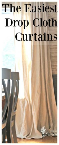 Sewing Curtains The Easiest Drop Cloth Curtains - Make these easy DIY cheap home decor using a drop cloth to create stylish window treatments for your living room windows.