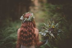 Forest Wedding on Vancouver Island. #forestwedding #redheadbride #redheads #bridalbouquet #uniqueweddingbouquets #flowercrown #eucalyptuscrown #threesistersphotography