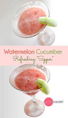 Fantastically refreshing! Watermelon Cucumber Sipper. | Recipe at I Gotta Create!
