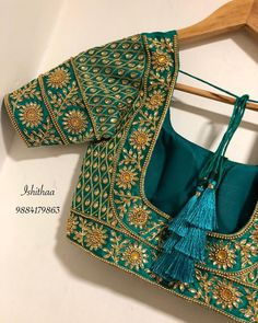 Stunning designer blouse back with floret lata design hand embroidery kundan work. Wedding Saree Blouse Designs, Pattu Saree Blouse Designs, Designer Blouse Patterns, Fancy Blouse Designs, Blouse Neck Designs, Maggam Work Designs, Stylish Blouse Design, Work Blouse, Hand Embroidery