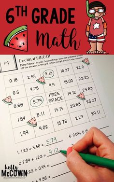THE BEST SUMMER REVIEW! The 6th Grade Summer Math Review packet covers all 6th grade math material for rising sixth graders. Get your kids ready for 7th grade this Summer. Review decimals, fractions, equations, graphing, proportions, geometry, and much more. Download the math worksheets today! Decimal, Math Skills, Math Lessons, Math Resources, Math Activities, Math Worksheets, Summer Activities, Math Help, Learn Math