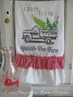 Christmas Flour Sack Kitchen Towel Farm Fresh Yuletide Tree Farm by SweetMagnoliasFarm, $18.25