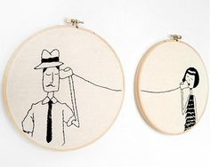 Ernest and Eloise play telephone // Printable PDF Valentine Embroidery Pattern. via Etsy. Silk Ribbon Embroidery, Embroidery Hoop Art, Hand Embroidery Patterns, Cross Stitch Embroidery, Embroidery Designs, Geometric Embroidery, Simple Embroidery, Flower Embroidery, Machine Embroidery