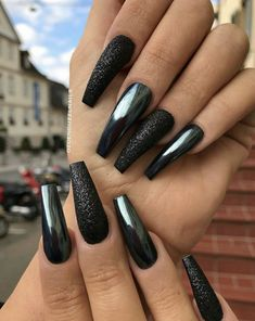 Sexy Nails, Black Nails, Matte Nails, Trendy Nails, Acrylic Nails, Coffin Nails, Acrylics, New Year's Nails, Fun Nails
