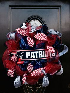 New England Patriots Deco Mesh Wreath by LinnasCreations on Etsy, $50.00