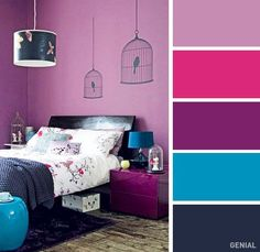 24 Ideas For Bedroom Paint Combinations Girl Rooms Color Inspiration Bright Bedroom Colors, Bedroom Color Schemes, Teal Colors, Bedroom Color Combination, Good Color Combinations, Color Combos, Best Color Schemes, Simple Interior, Girls Bedroom