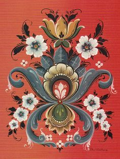 Rosemaling Card. Reminds me of my daughter's art, (Jessica Wyant Pendleton)