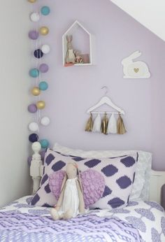 lavender purple and gold girls bedroom with bunny accents