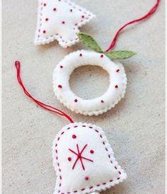 12 Ideas DIY Felt Ornaments for Christmas Tree: 12 Ideas DIY Felt Ornaments For Christmas Tree   White Felt Bell Ornaments ~ ideashomeconcep...