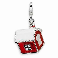 Beautiful Sterling silver 925 sterling Sterling Silver 3-D Red Enameled Holiday Stocking w//Lobster Clasp Charm