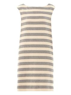 This cream and navy striped cotton-blend shift dress has a boat neckline with a V-neck back detail.The cap sleeve dress is fully lined with two concealed side-pockets.