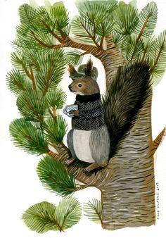 Image of Siberian Squirrel and Cup of Tea - Original Watercolor Painting