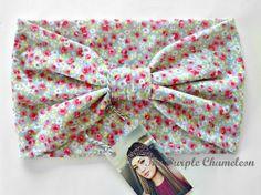 Light Gray and Pink Floral Turban Head Wrap by ThePurpleChameleon, $16.00  #WRAPsody  #boho #headwrap #turban #fashion #springfashion #shabbychic #GetSpotted