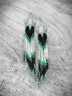 XX Long Fringe Beaded Earrings, Mint, Teal, Black Shoulder Dusters, Long Seed Bead Earrings, Native American Inspired, Tribal, Southwestern
