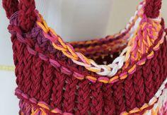 Tote Bag Burgundy Loom Knit Bag by sparkleknit on Etsy