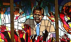 A stained glass homage to former South African president Nelson Mandela at the Regina Mundi church in Soweto. Nelson Mandela, City Press, Apostles Creed, Church Windows, Letting Go Of Him, Great Life, Christian Church, Freedom Fighters, National Treasure