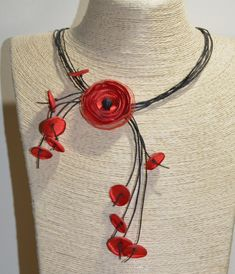 Adorable and creative can bring you in good mood with it's bright color and spring theme. Floral Necklace, Boho Necklace, Spring Theme, Leather Flowers, Flower Jewelry, Red Poppies, Handmade Flowers, Good Mood, Necklace Lengths