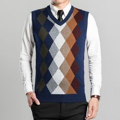 Men's sleeveless V-neck sweater hedging autumn and winter warm argyle pattern cashmere men vest new 2016 mens knitted pullover