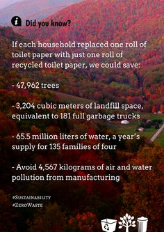 One person can make a statement, but it takes a group to make a difference. If each household in Canada replaced one roll of toilet paper with just one roll of recycled toilet paper, they could save all this. Working together as one is what is needed to help save the planet.