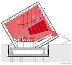 Temporary auditorium in L'Aquila is part of Modern architecture White Interiors - Temporary auditorium in L'Aquila Courtesy of Renzo Piano Building Workshop + Atelier Traldi Auditorium Design, Auditorium Architecture, Theater Architecture, Architecture Design, Temporary Architecture, Architecture Drawings, Architecture Diagrams, Sections Architecture, Workshop Architecture