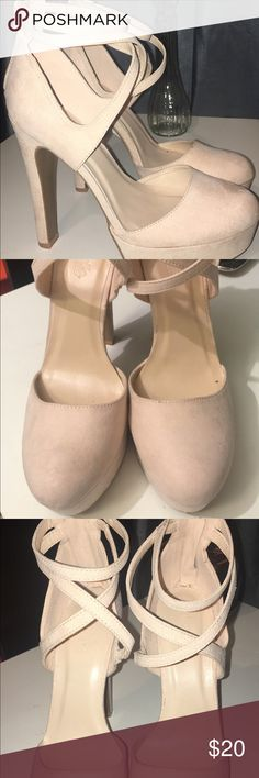 Suede nude heels ✨ Beautiful suede nude heels. From Charlotte Russe. Size 8. Never worn, just tried on. Any questions feel free to ask 🌻 Charlotte Russe Shoes Heels