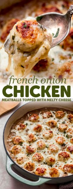 Comforting French Onion Chicken Meatballs - these meatballs are tender, nestled in a french onion gravy and topped with melty cheese! Sure to be a hit with the whole family! Chicken Meatball Recipes, Ground Chicken Recipes, Turkey Recipes, Dinner Recipes, Keto Chicken, Fried Chicken, French Onion Chicken, Onion Gravy, Onion Sauce