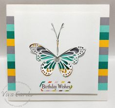 """314 - Handmade Card - """"Birthday Wishes'  #Mint, #Butterfly, #Colours"""