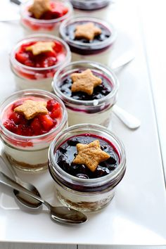 Berry Cheesecake Parfaits {No Bake} by Annie's Eats: Love the mason jar presentation. I've tried doing this before and it failed, maybe the no-bake version is just the trick I needed!!