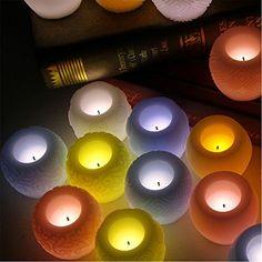 Decorative LED Flickering Flameless Candles Set Tea light Holders Fall Decor Halloween Christmas Decorations Gift (diamond, Blue)